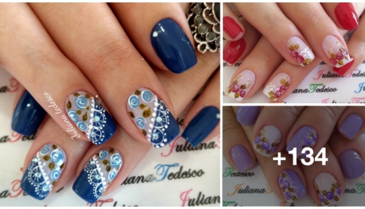 134 Fotos de Unhas decoradas com Flores Vintage1