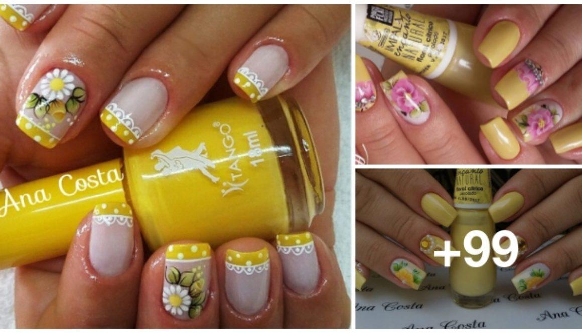 99 Unhas decoradas com flores amarelas