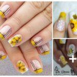 Unhas esmaltadas de amarelo